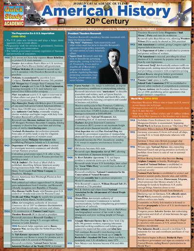 American History 20th Century Quick Study Chart