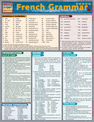 French Grammar Quick Study Chart