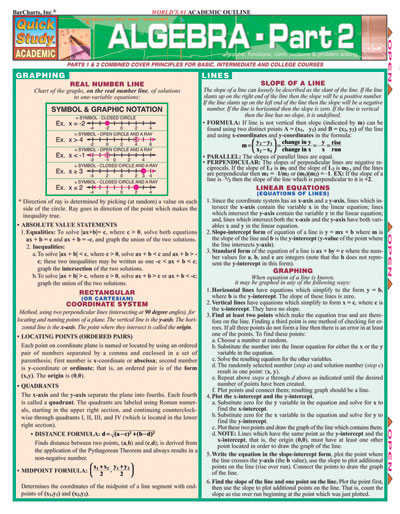 Algebra Part 2 Quick Study Chart