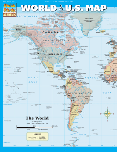 World and US Map Quick Study Chart