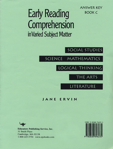 Early Reading Comprehension Book C; Answer Key