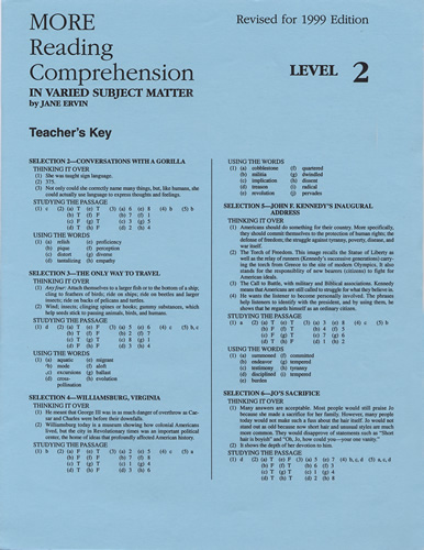 MORE Reading Comprehension Level 2; Teacher's Key - Click Image to Close