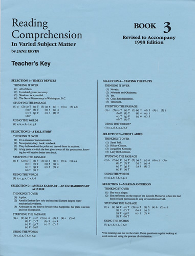 MORE Reading Comprehension Level 3; Teacher's Key