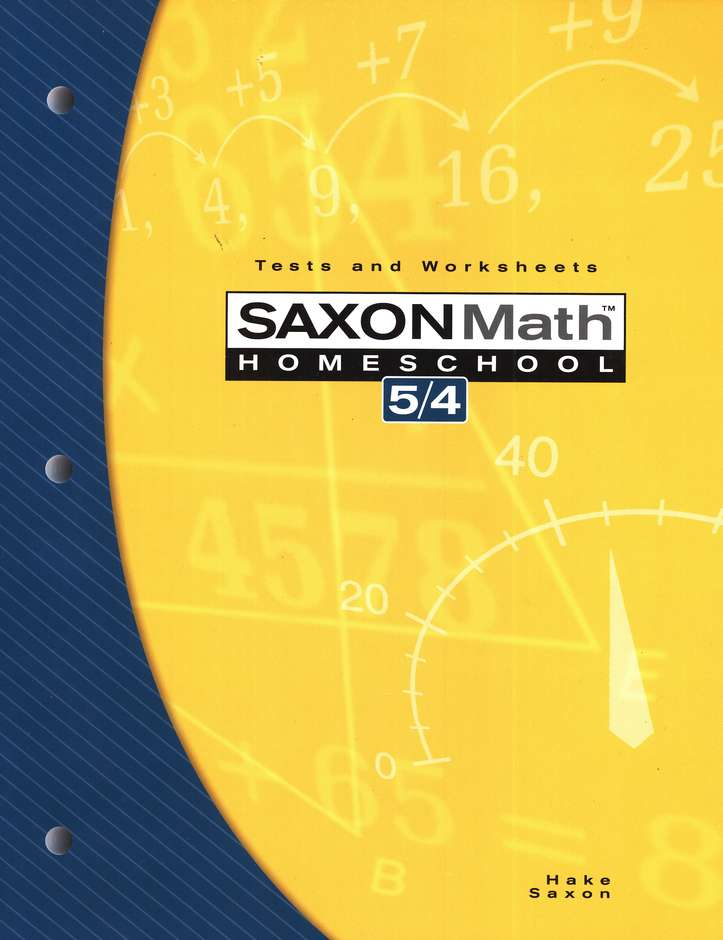 Saxon Math 54: Tests & Worksheets; 3rd edition