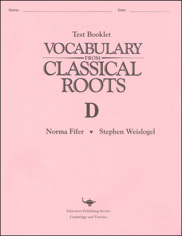 Vocabulary from Classical Roots D Test