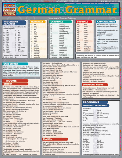German Grammar Quick Study Chart