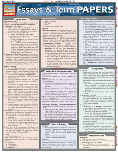 Essays and Term Papers Quick Study Chart