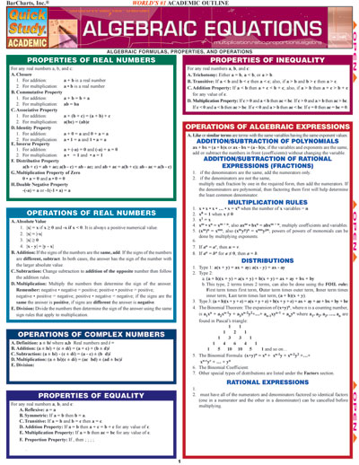Algebraic Equations Quick Study Chart