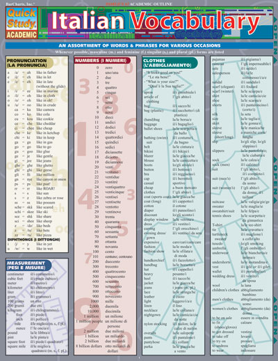 Italian Vocabulary Quick Study Chart
