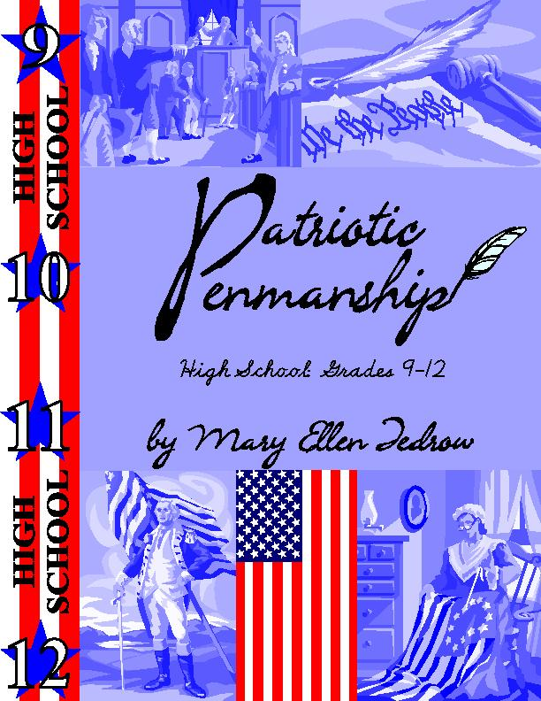 Patriotic Penmanship High School Grades 9 - 12 (cursive) - Click Image to Close