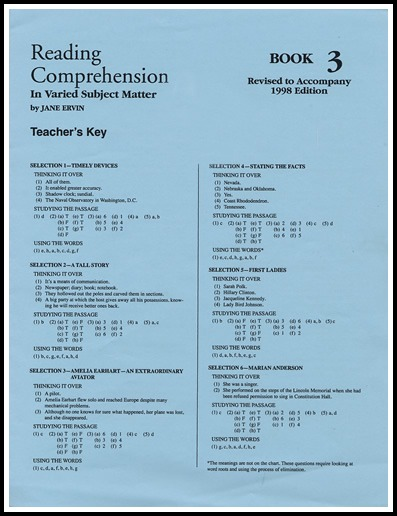 Reading Comprehension Book 3; Teacher's Key