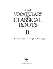 Vocabulary from Classical Roots B Tests